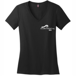 CAUTION-Avoid My Blindside (Front & Back)  - District Made® - Ladies Perfect Weight® V-Neck Tee - DTG