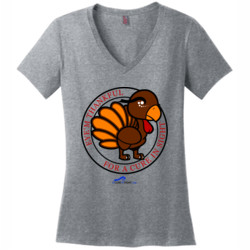 Eye'm Thankful For A Cure In Sight - District Made® - Ladies Perfect Weight® V-Neck Tee - DTG
