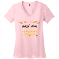 Eye Believe In Miracles  - District Made® - Ladies Perfect Weight® V-Neck Tee - DTG